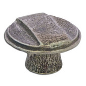 Designs Metropolitan Collection 1-1/8'' Diameter Traditional Knob with Raised Middle Stripe in Shiny Pewter, 1-1/8'' Diameter x 13/16'' D x 13/16'' H