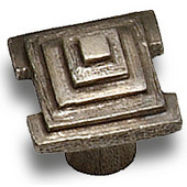 Designs Florence Collection 1'' W Square Step Cabinet Knob in Natural Pewter, 1'' W x 1-1/16'' D x 1'' H