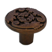 Acanthus Collection 1-9/16'' Diameter Traditional Acanthus Knob in Shiny Pewter, 1-9/16'' Diameter x 1'' D x 1'' H