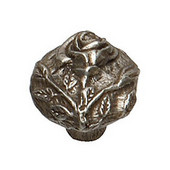 Designs The Flower Patch Collection 1-1/4'' Diameter Traditional Round Rose Knob in Shiny Pewter, 1-1/4'' Diameter x 1-1/4'' D x 1-1/4'' H