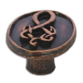 Celtic Collection 1-3/16'' Diameter Oval Cabinet Knob with Celtic Design in Antique Brass, 1-3/16'' Diameter x 1-3/16'' D
