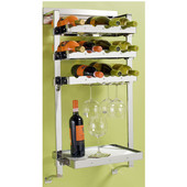pegRAIL 18'' Wall Mount Wine Bar Set w/ Stemware Storage, 12 Bottle Capacity, 18'' W x 12'' D x 38'' H, Satin Nickel, Shown in Polished Chrome