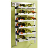 pegRAIL 18'' Wall Mount Wine Cellar Set, 24 Bottle Capacity, 18'' W x 12'' D x 38'' H, Satin Nickel, Shown in Polished Chrome