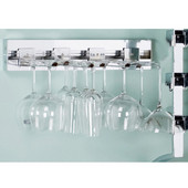 pegRAIL 18'' Wall Mount Stemware Set, Set of 4 Holders, 18'' W x 14'' D x 4'' H, Satin Nickel, Shown in Polished Chrome