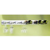 pegRAIL 36'' Wall Mount Under Cabinet Wine Bar Set, 4 Bottle Capacity, 36'' W x 14'' D x 4'' H, Polished Chrome