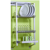 pegRAIL 18'' Plate Rack Set, 18'' W x 12'' D x 38'' H, Satin Nickel, Shown in Polished Chrome