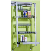pegRAIL 18'' Spice Rack Set, 18'' W x 12'' D x 38'' H, Satin Nickel, Shown in Polished Chrome