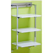pegRAIL 18'' Shelf Set, 18'' W x 14'' D x 38'' H, White Wood with Polished Chrome