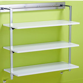 pegRAIL 36'' Shelf Set, 36'' W x 14'' D x 38'' H, Espresso Wood with Polished Chrome, Shown in White w/ Polished Chrome