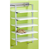 pegRAIL 18'' Shoe Shelf Set, 18'' W x 14'' D x 38'' H, Natural Wood with Satin Nickel, Shown in White w/ Polished Chrome