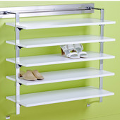 pegRAIL 36'' Shoe Shelf Set, 36'' W x 14'' D x 38'' H, Espresso Wood with Polished Chrome, Shown in White w/ Polished Chrome