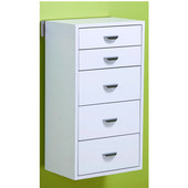 pegRAIL 18'' Five Drawer Cabinet Set, 18'' W x 12'' D x 33'' H, Espresso Wood with Satin Nickel, Shown in White w/ Polished Chrome