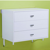 pegRAIL 36'' Three Drawer Cabinet Set, 36'' W x 20'' D x 33'' H, White Wood with Satin Nickel, Shown in White w/ Polished Chrome