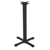 2000 Series Table Bar Height Base, 22'' x 22'', Style X, 40-1/4'' High, Black Matte