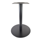 4000BKZ Series Positano Line 17'' Round Table Base with 12'' W x 12'' D Top Plate, Dining Height 28-1/2'' H, Smooth Black Matte