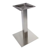 5000 Series Verona Line Brushed Stainless Steel Table Base 17'', 22'' or 30'' Square Table Height, Square Column, Base Spread: 22'' W, Spider Spread: 12'' W, Height: 28-1/2'' H, Available in Multiple Sizes