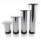 Como Furniture Leg, 2'' Diameter, 4'' H to 10'' H in Multiple Finishes, Shown Here in Chrome