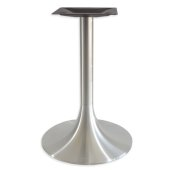 6000 Series Palermo Line Trumpet Alumimun Base Table Height in Brushed, 3'' Column Diameter x 28'' H, 20'' Base Spread, 12'' Spider Spread
