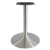 6000 Series Palermo Line Trumpet Alumimun Base Table Height in Brushed, 3'' Column Diameter x 28'' H, 22'' Base Spread, 12'' Spider Spread