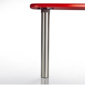 Isola Table Leg Series, Single Table Leg for Island Table in Brushed Chrome, 3'' Diameter x 24-3/4'' H