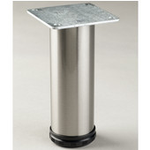Como Furniture Leg, 2'' Diameter, 4'' H to 10'' H in Multiple Finishes, Shown Here in Brushed Steel