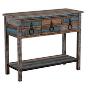 Powell Calypso 3-Drawer Console Table with Shelf in Distressed Colorful, 38-1/2''W x 15-3/4''D x 30-3/4''H