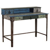 Powell Calypso Wood Writing Desk with Drawers and Metal Legs in Distressed Colorful, 47''W x 23-1/2''D x 38-3/4''H