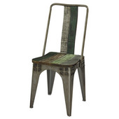 Powell Calypso Industrial Wood and Metal Side Chair in Distressed Colorful, 20''W x 26''D x 41''H
