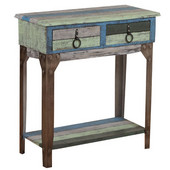 Powell Calypso Small Metal and Wood 2-Drawer Hall Console in Distressed Colorful, 31-1/2''W x 14-1/2''D x 30-3/4''H
