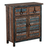 Powell Calypso Console with 2 Drawers and Cabinet  in Distressed Colorful, 31-1/2''W x 14''D x 35-1/4''H