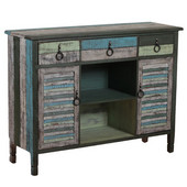 Powell Calypso Server with Drawers, Cabinets and Open Storage in Distressed Colorful, 47-1/4''W x 15''D x 36-1/4''H
