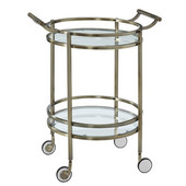 Powell Round Tempered Glass Bar Service Cart with Castors in Antique Brass Frame, 26-1/2''W x 21''D x 33''H