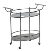 Powell Oval Bar Service Cart w/ Glass Shelves and Castors in Chrome, 32''W x 18''D x 32''H