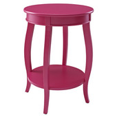 Powell Round Side Table with Shelf in Bubble Gum Finish, 18''Dia. X 24''H