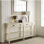Powell 4-Drawer Console with Double Shelving in Cream Crackle, 72''W x 12''D x 34-1/2''H