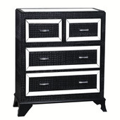 Powell Glamour 4 Drawer Chest with Mirrored Glass Accents in Black, 41-3/4''W x 17-3/4''D x 35-1/2''H