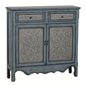 Powell Two-Toned Console with Raised Panel Decorative Front in White, 41''W x 11''D x 36''H