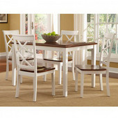 Powell Harrison 5 P. in Cherry and White, <b>Table: </b>36''W x 48''D x 30''H <br><b> Chair: </b>18''H x 22''D x 38''H