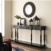 Powell Crackle Console in Soho Black, 72''W x 12''D x 34-1/2''H