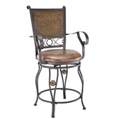Powell Big & Tall Stamped Back Counter Stool with Arms in Bronze Powder Coated,  23''W x 21-1/2''D x 42''H