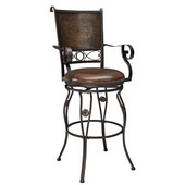 Powell Big & Tall Stamped Back Barstool with Arms in Bronze Powder Coated,  23''W x 21-1/2''D x 51''H