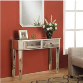 Powell Mirrored Console Table in Mirrored Surfaces & Silver, 40''W x 16''D x 30''H