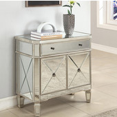 Powell Mirrored 1-Drawer, 2-Door Console, 32''W x 16''D x 32''H