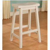 Powell Saddle Counter Stool in Pure White, 17-5/8''W x 14-5/8''D x 24''H (<b>Seat Depth: </b>9-1/8''D)