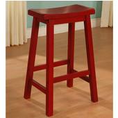 Powell Saddle Counter Stool in Crimson Red, 17-5/8''W x 14-5/8''D x 24''H (<b>Seat Dept: </b>9-1/8''D)