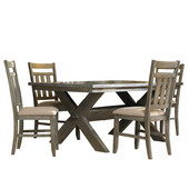 Powell 5-Pc. Turino Dining Set - (1) 457-417 Dining Table & (4) 457-434 Side Chairs in Grey Oak Stain w/ Tan Fabric, <b>Table: </b>72''W x 40''D x 30''H<br><b> Chairs: </b>19''H x 23''D x 40''H (<b>Seat Height: </b>18''H)