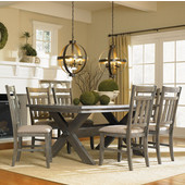 Powell 7-Pc Turino Dining Set - Table & 6 Chairs in Grey Oak Stain w/ Tan Fabric, <b>Table: </b>72''W x 40''D x 30''H<br><b> Chairs: </b>19''H x 23''D x 40''H (<b>Seat Height: </b>18''H)