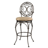 Powell Big and Tall Scroll Circle Back Barstool in Bronze, 19''W x 20''D x 48-1/2''H