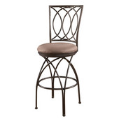 Powell Big and Tall Metal Crossed Legs Bar Stool in Bronze with Mocha Fabric, <b>Overall Dimensions: </b>19''W x 21''D x 49''H (<b>Seat Height: </b>30''H)