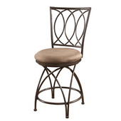 Powell Big and Tall Metal Crossed Legs Counter Stool in Bronze with Mocha Fabric, <b>Overall Dimensions: </b>19''W x 21''D x 43''H (<b>Seat Height: </b>24''H)